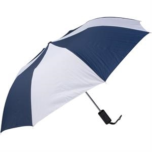 "Navy-white - Personal Pop-up Umbrella, 42"", Folds To 14"""