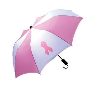 "Personal Pink/white Pop-up Umbrella With 42"" Arc And Breast Cancer Ribbon"