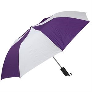 "Purple-white - Personal Pop-up Umbrella, 42"", Folds To 14"""