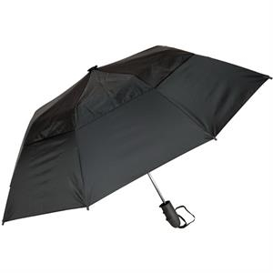 "Urbanite (tm) - Black - Automatic Open 44"" Wind Vented Folding Umbrella"