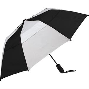 "Urbanite (tm) - Black-white - Automatic Open 44"" Wind Vented Folding Umbrella"