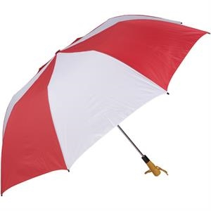 "Red-white - 58"" Folding Golf Umbrella With Automatic Open"