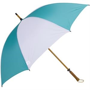 Eagle (tm) - Teal-white - Classic Golf Size Umbrella With Wooden Shaft