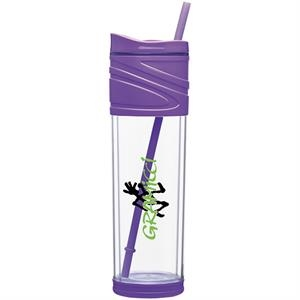 Melrose - Purple - 16 Oz Double Wall Acrylic Tumbler With Dual Purpose Swivel Lid