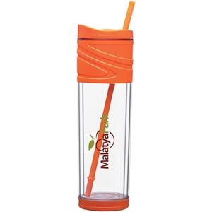 Melrose - Orange - 16 Oz Double Wall Acrylic Tumbler With Dual Purpose Swivel Lid