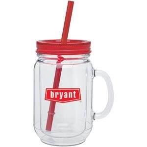 Red - 18 Oz Double Wall Acrylic Mason Mug With Accent Threaded Lid And Matching Straw