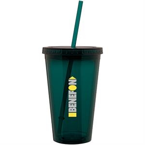 Spirit - Teal - 16 Oz Acrylic Double Wall Tumbler With Threaded Lid And Matching Straw