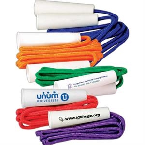 "Solid Colored 84"" Jump Rope With White 4"" Handles. Imprinted"