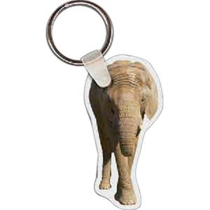 "Full Color On White Item - 1.29"" X 2.49"" - Full Color Elephant Shaped Key Tag"