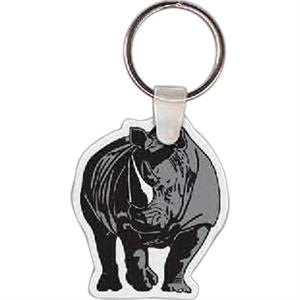 "Rhinoceros Shaped Key Tag, 1.63"" W X 1.99"" H"