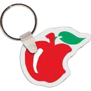 "Apple With Bite Shaped Key Tag, 2"" W X 1.7"" H"