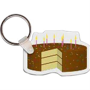"Birthday Cake With Sprinkles Shaped Key Tag, 2.25"" W X 1.54"" H"
