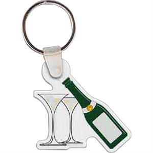 "Full Color On Color Item - Full Color Champagne And Glasses Shaped Key Tag, 1.89"" W X 1.85"" H"