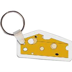 "Cheese Shaped Key Tag, 2.35"" W X 1.32"" H"