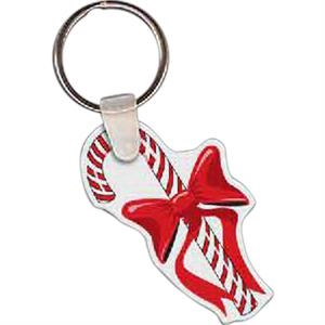 "Candy Cane Shaped Key Tag, 1.79"" W X 1.89"" H"