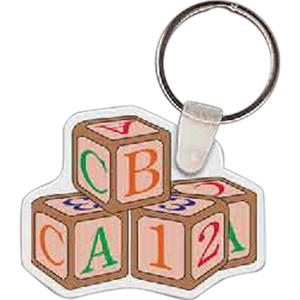 "Blocks Shaped Key Tag, 2.1"" W X 1.64"" H"