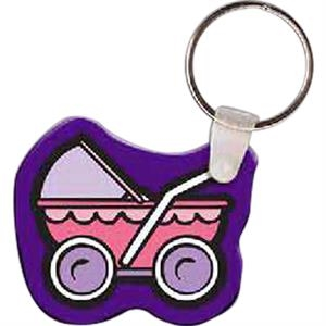 "Baby Carriage Shaped Key Tag, 1.99"" W X 1.72"" H"