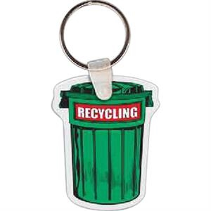 "Recycling Trash Can Shape Key Tag, 1.6"" X 2.02"""