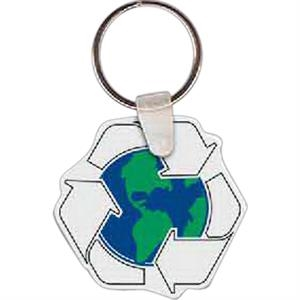 "Recycle With Earth Shape Key Tag, 1.84"" X 1.75"""