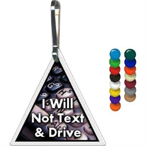 "Full Color On White Item - Full Color Triangle Shape Zippy Clip, 1.25"" X 1.25"""