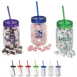 Mason jar with colored lid filled with Hershey kisses