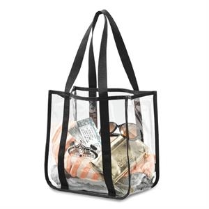"Durable Clear Pvc Tote With 20.5"" Shoulder Straps"