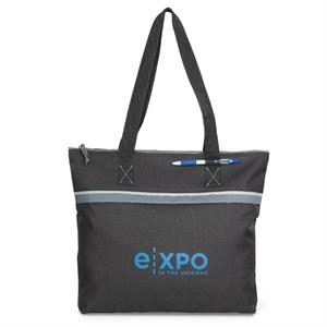 Muse - Black - Convention Tote Bag With Large Capacity Compartment And Zippered Closure