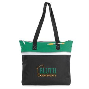 Muse - Kelly Green - Convention Tote Bag With Large Capacity Compartment And Zippered Closure
