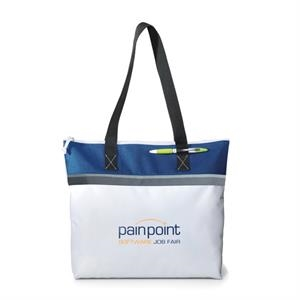"Marina - Royal Blue - Convention Tote Bag With Zippered Closure And 26"" Shoulder Straps"