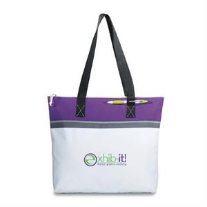 "Marina - Purple - Convention Tote Bag With Zippered Closure And 26"" Shoulder Straps"