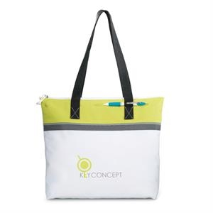 "Marina - Neon Limeade - Convention Tote Bag With Zippered Closure And 26"" Shoulder Straps"