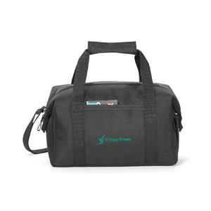 Pacific - Black - Polyester Lunch Cooler With Zippered Closure To Expandable Main Compartment