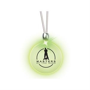 Round/green Led - Frosted Glow Pendant. Constant Glow. Magnetic Safety Clasp