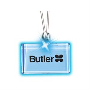Rectangle/blue Led - Frosted Glow Pendant. Constant Glow. Magnetic Safety Clasp