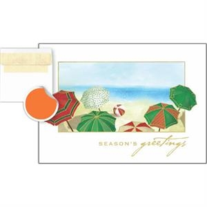 "Greeting Card With ""season's Greetings"" And Beach Umbrellas On Front"