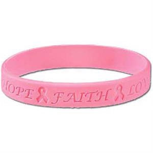 Stock Breast Cancer Awareness Debossed Silicone Bracelet