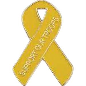 "Support Our Troops (all Yellow) - 1"" Iron Stock Patriotic Ribbon Awareness Lapel Pin"