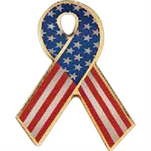 "Stars And Stripes - 1"" Iron Stock Patriotic Ribbon Awareness Lapel Pin"