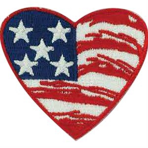 Stock Heart Shaped American Flag Embroidered Patch, 2 1/2""