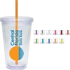 Blue - 20 Oz. Double Walled Cup With Clear Lid And Colored Straw