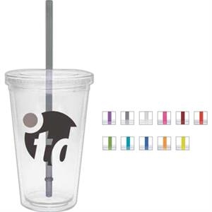 Maroon - 16 Oz. Double Walled Tumbler With Clear Lid And Colored Straw