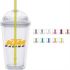 Yellow Straw - 16 Oz. Cup With Clear Lid And Colored Straw