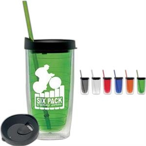 Lime Green - 15 Oz. Doubled Walled Cup With Black Lid And Color Coordinated Straw