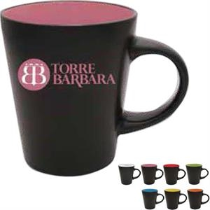 12 Oz Mug With Satin Black Exterior And Contrasting Red Interior