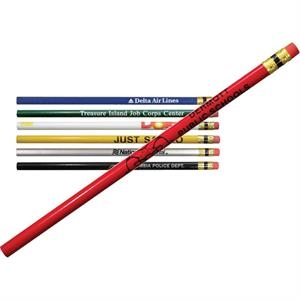 Promoter - Round Pencil With Brass Ferrule, Black Stripe And Pink Eraser