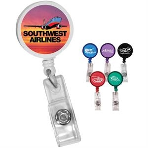 "Round Badge Holder With Alligator Clip, Extends To 35"", Full Color Digital"