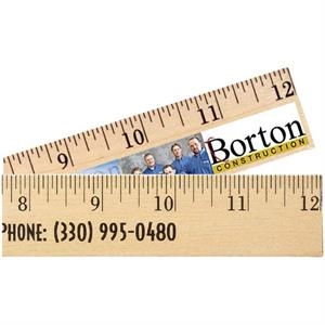 "Clear Lacquer Finish 12"" Wood Ruler"
