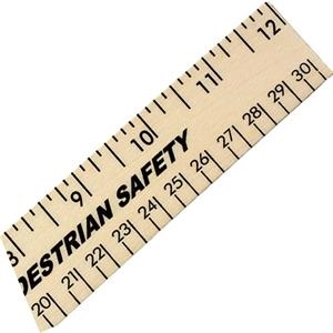 "Clear Lacquer Finish 12"" Wood Ruler With English And Metric Scale"