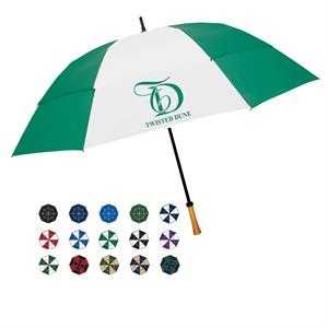 "Manual Open Umbrella With Wind Resistant Frame And A Genuine Wood Handle; 64"" Arc"