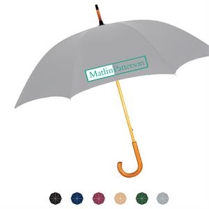 Manual Open Nylon Fabric Umbrella With Wood Shaft And Genuine Wood Crook Handle